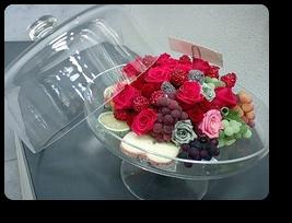 プリザーブド&イミテーションフルーツ,ケーキ器付き幅28cm¥30,000