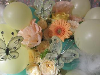 生花とバルーン&蝶